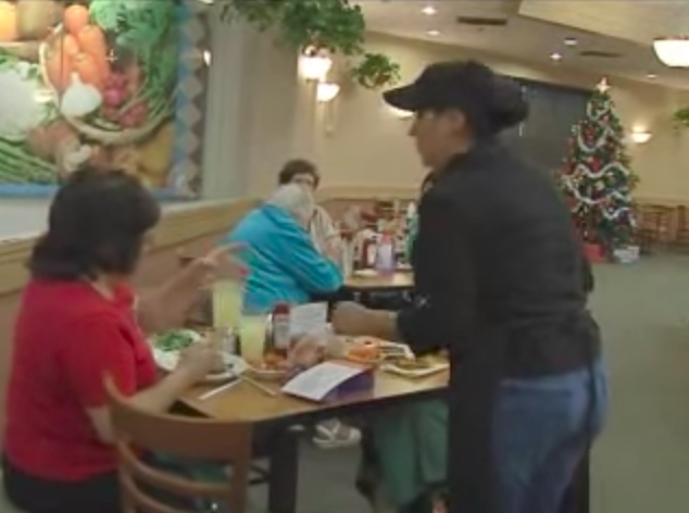 Waitress serves grumpy old man for 7 years, after he passed