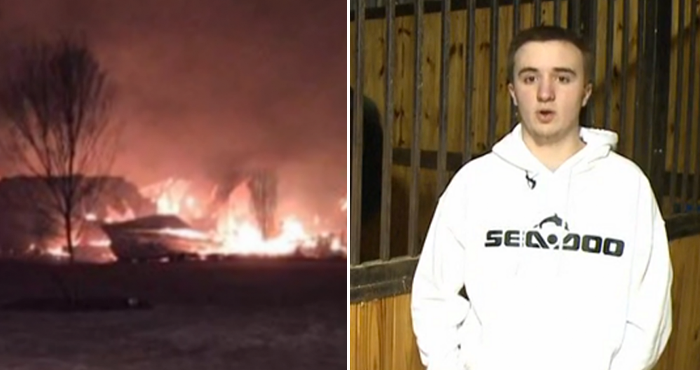 16-year-old boy drives through burning barn wall to save 14 trapped Clydesdale horses